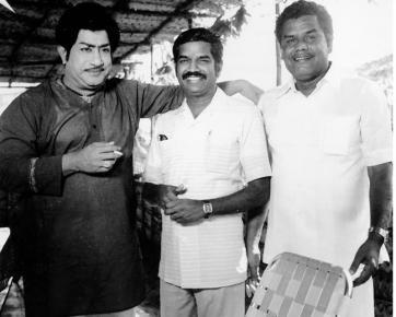 With Veteran actor Sivaji Ganesan and Music Director Gangai Amaran